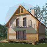 проект мансардного дома с балконом