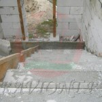 Ж/б монолитная лестница после заливки