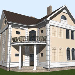 Проект дома с балконом над крыльцом.