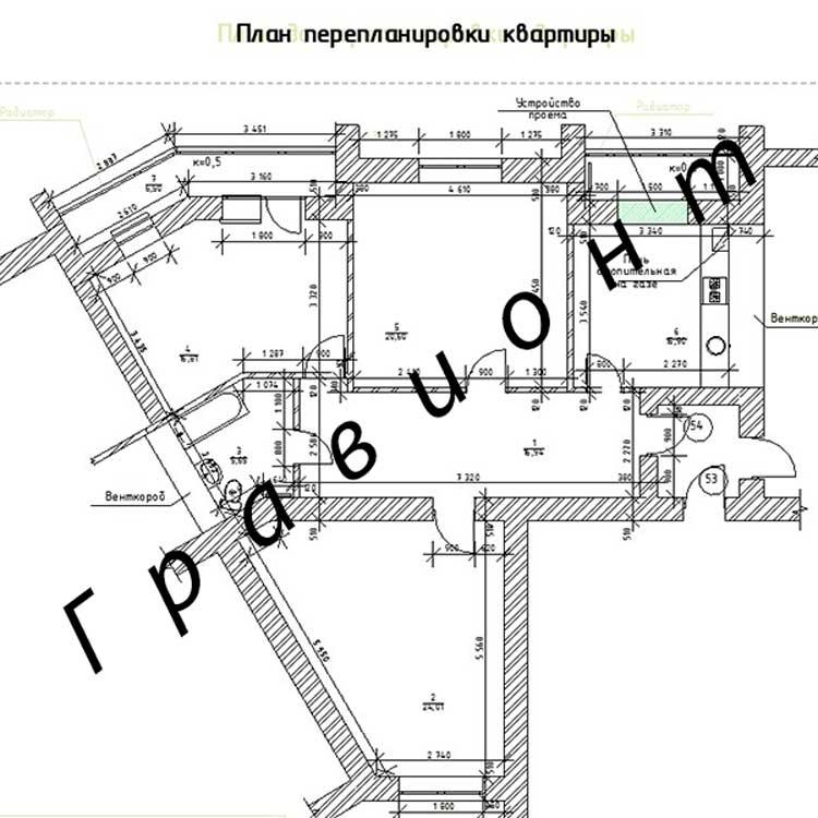 План квартиры после перепланировки.